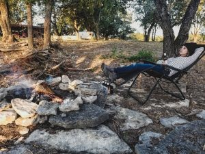 Camping with a reclining chair